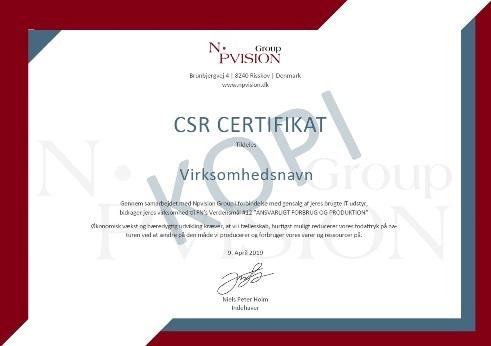 CSR certifikat fra Npvision Group